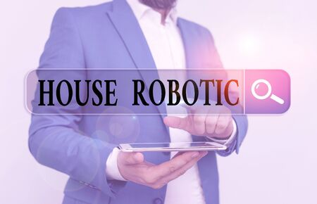 Word writing text House Robotic. Business photo showcasing Programmable powered machines that perform household chores