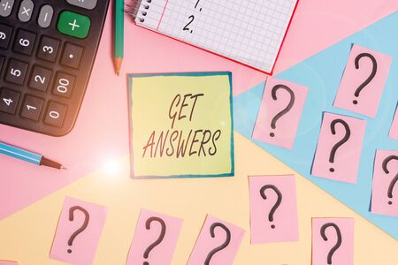 Handwriting text writing Get Answers. Conceptual photo to get a reply or something when asks a question to someone Mathematics stuff and writing equipment above pastel colours background