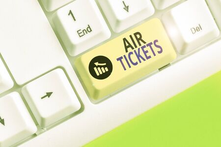 Text sign showing Air Tickets. Business photo text individual is entitled to a seat on a flight on an aircraft
