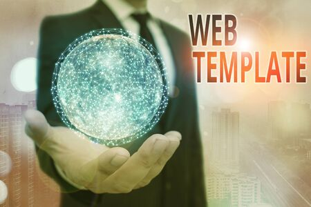 Conceptual hand writing showing Web Template. Concept meaning predesigned or plug in webpage or set of HTML webpages Elements of this image furnished by NASA