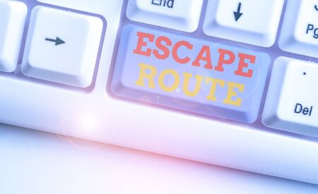 Text sign showing Escape Route. Business photo text a route by which a demonstrating may reach a place of safety 写真素材