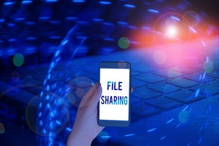 Handwriting text writing File Sharing. Conceptual photo transmit files from one computer to another over a network