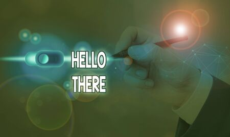Handwriting text Hello There. Conceptual photo a way to get someone s is attention more strongly upon greeting