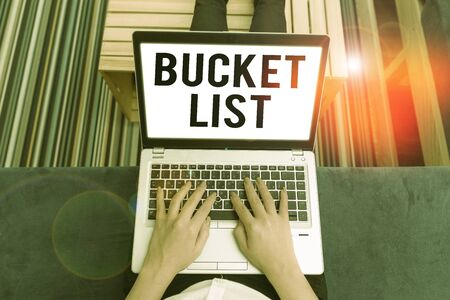 Handwriting text writing Bucket List. Conceptual photo a list of the things that a demonstrating would like to do or achieve