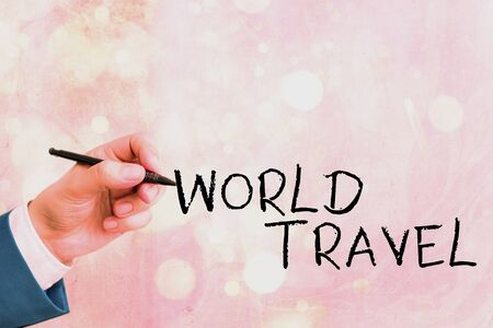 Conceptual hand writing showing World Travel. Concept meaning the movement of showing between distant geographical locations