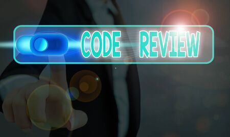 Word writing text Code Review. Business photo showcasing single most effective technique for identifying security flaws Stock Photo