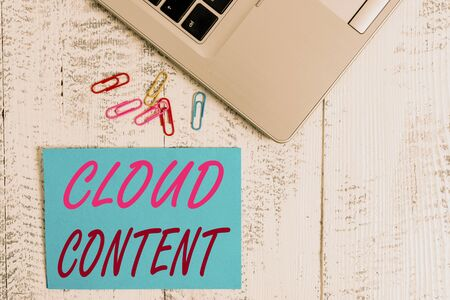 Writing note showing Cloud Content. Business concept for Standalone platform or supported by an additional services Trendy metallic laptop blank sticky note colored clips on vintage table