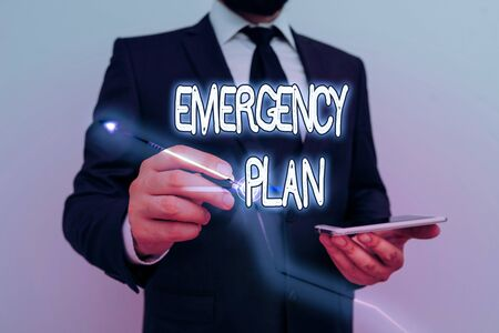Conceptual hand writing showing Emergency Plan. Concept meaning course of action to mitigate the damage of potential events