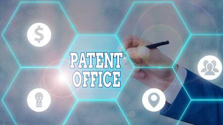 Handwriting text Patent Office. Conceptual photo a government office that makes decisions about giving patents