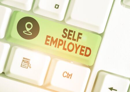 Conceptual hand writing showing Self Employed. Concept meaning owner of a business rather than for an employer Freelancer