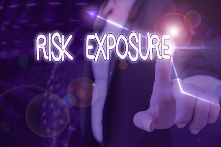 Text sign showing Risk Exposure. Business photo showcasing the quantified potential loss that might occur in a business Stock Photo