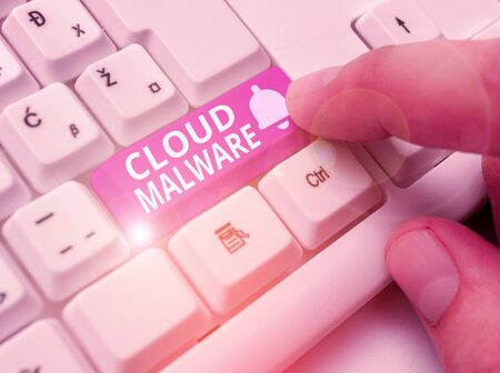 Writing note showing Cloud Malware. Business concept for malicious software file or program harmful to a computer