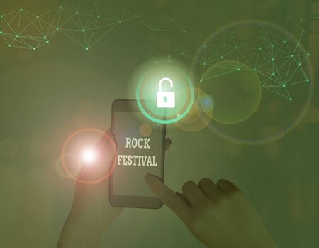 Text sign showing Rock Festival. Business photo showcasing Largescale rock music concert featuring heavy metals genre
