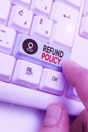 Handwriting text Refund Policy. Conceptual photo refund or exchange defective merchandise previously buy 写真素材