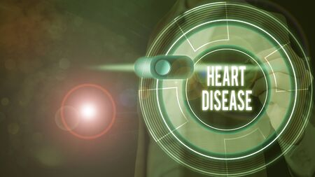 Text sign showing Heart Disease. Business photo text class of diseases that involve the heart or blood vessels