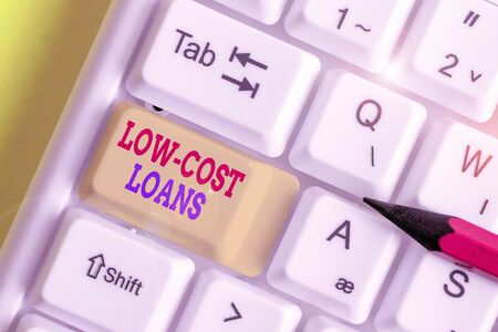 Conceptual hand writing showing Low Cost Loans. Concept meaning loan that has an interest rate below twelve percent