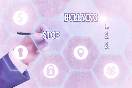 Conceptual hand writing showing Stop Bullying. Concept meaning stop the aggressive behaviour among school aged children