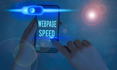 Text sign showing Webpage Speed. Business photo text how quickly users are able to see and interact with content Фото со стока