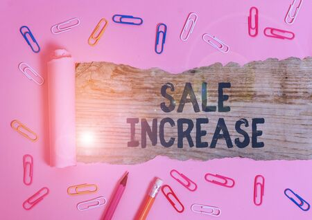 Handwriting text Sale Increase. Conceptual photo amount a company derives from sales compared to a previous
