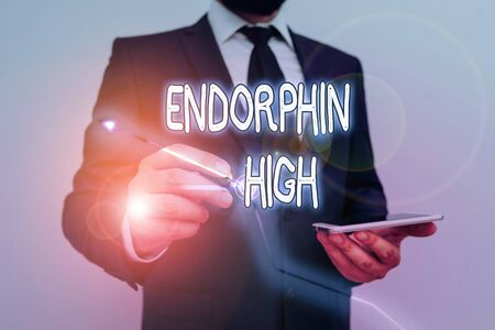 Conceptual hand writing showing Endorphin High. Concept meaning trigger a positive feeling in the body like that of morphine