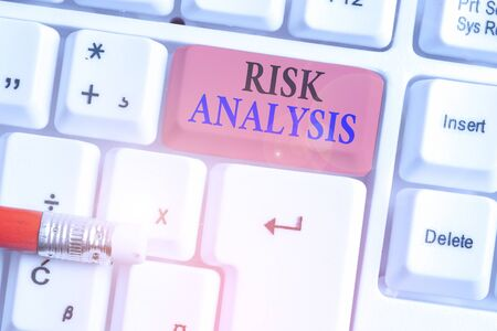 Writing note showing Risk Analysis. Business concept for review of the risks associated with a particular event 免版税图像