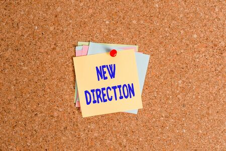 Text sign showing New Direction. Business photo showcasing situation in which someone starts doing something totally new Corkboard color size paper pin thumbtack tack sheet billboard notice board