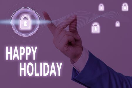 Word writing text Happy Holiday. Business photo showcasing a greeting or farewell before a holiday season begins