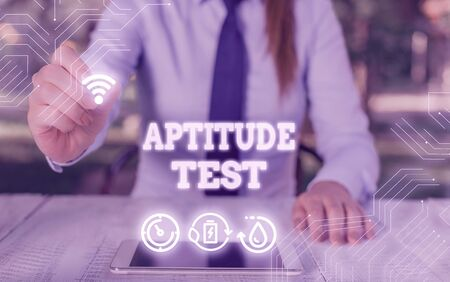 Writing note showing Aptitude Test. Business concept for designed to determine a demonstrating ability in a particular skill