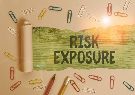 Handwriting text Risk Exposure. Conceptual photo the quantified potential loss that might occur in a business