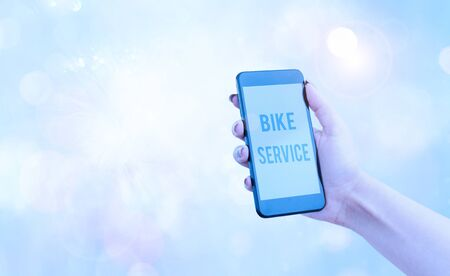 Text sign showing Bike Service. Business photo showcasing cleaning and repairing bike mechanism to keep best condition