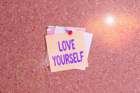 Text sign showing Love Yourself. Business photo showcasing have selfrespect and the unconditional selfacceptance Corkboard color size paper pin thumbtack tack sheet billboard notice board