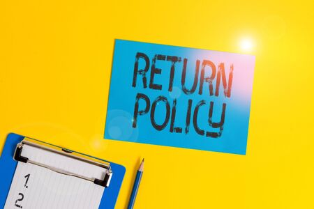Conceptual hand writing showing Return Policy. Concept meaning return or exchange defective merchandise that they buy before Clipboard holding paper sheet square page pen colored background Banque d'images