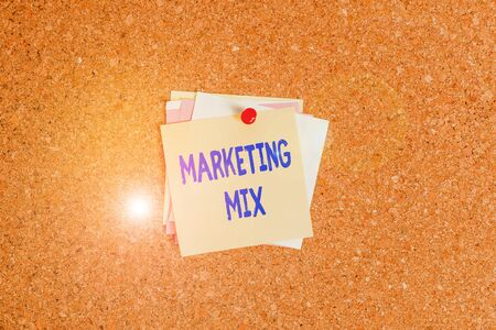 Text sign showing Marketing Mix. Business photo showcasing Set of actions uses to promote the brand in the market Corkboard color size paper pin thumbtack tack sheet billboard notice board