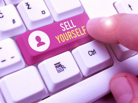 Word writing text Sell Yourself. Business photo showcasing to make yourself seem impressive or notable to other showing