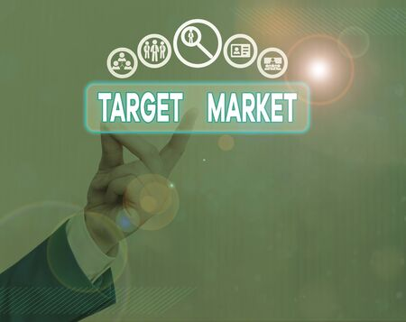 Writing note showing Target Market. Business concept for Particular group of consumers which a product is aimed