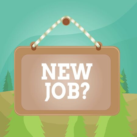 Word writing text New Job Question. Business photo showcasing formal meeting which someone asked find out if they are suitable Board fixed nail frame string striped colored background rectangle panel