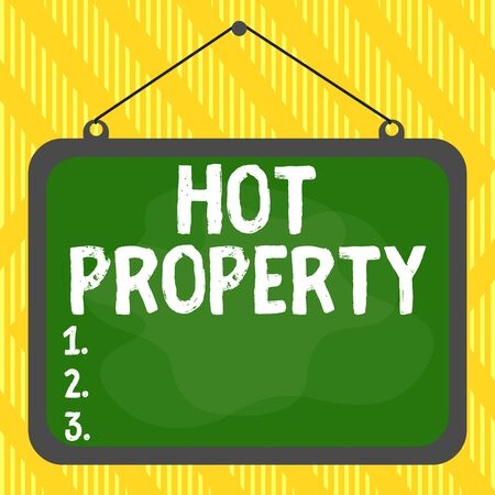 Word writing text Hot Property. Business photo showcasing one that many showing want to buy and it is highly desirable Asymmetrical uneven shaped format pattern object outline multicolour design