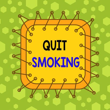 Writing note showing Quit Smoking. Business concept for process of discontinuing tobacco smoking or cessation Asymmetrical uneven shaped pattern object multicolour design