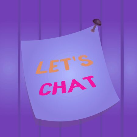Writing note showing Lets Is Chat. Business concept for inviting the demonstrating to have informal conversation with you Curved reminder paper memo nailed colorful surface pin frame Foto de archivo