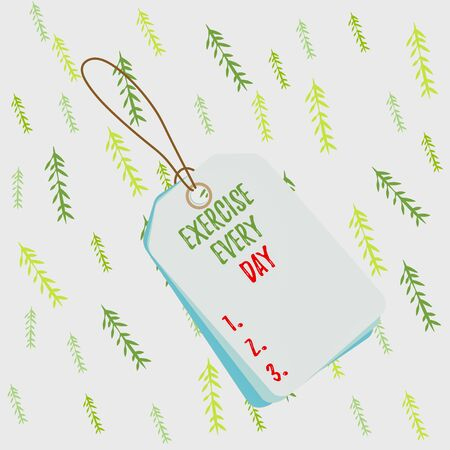 Handwriting text Exercise Every Day. Conceptual photo move body energetically in order to get fit and healthy Label rectangle empty badge attached string colorful background tag small