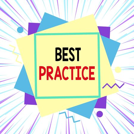 Word writing text Best Practice. Business photo showcasing commercial procedures that are accepted prescribed being correct Asymmetrical uneven shaped format pattern object outline multicolour design