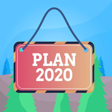 Word writing text Plan 2020. Business photo showcasing detailed proposal doing achieving something next year Board attached string color black yellow frame empty blank rectangle shape