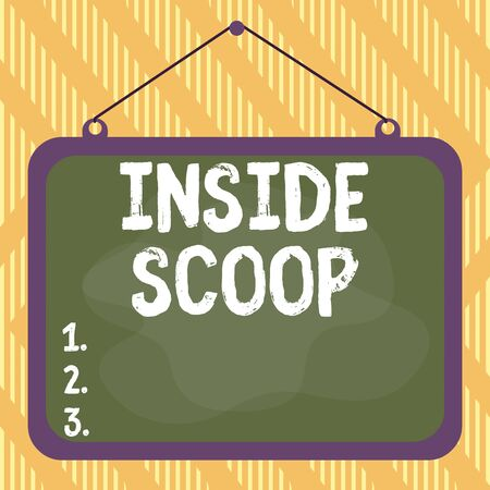 Word writing text Inside Scoop. Business photo showcasing Information that only an insider would have Real information Asymmetrical uneven shaped format pattern object outline multicolour design Standard-Bild