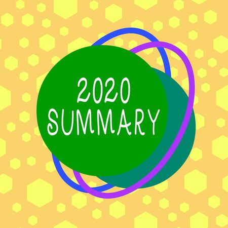 Text sign showing 2020 Summary. Business photo showcasing summarizing past year events main actions or good shows Asymmetrical uneven shaped format pattern object outline multicolour design