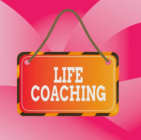 Handwriting text Life Coaching. Conceptual photo demonstrating employed to help showing attain their goals in career Board attached string color black yellow frame empty blank rectangle shape Stock Photo
