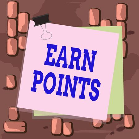 Word writing text Earn Points. Business photo showcasing collecting scores in order qualify to win big prize Paper stuck binder clip colorful background reminder memo office supply