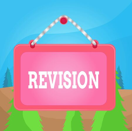 Word writing text Revision. Business photo showcasing action of revising over someone like auditing or accounting Board fixed nail frame string striped colored background rectangle panel