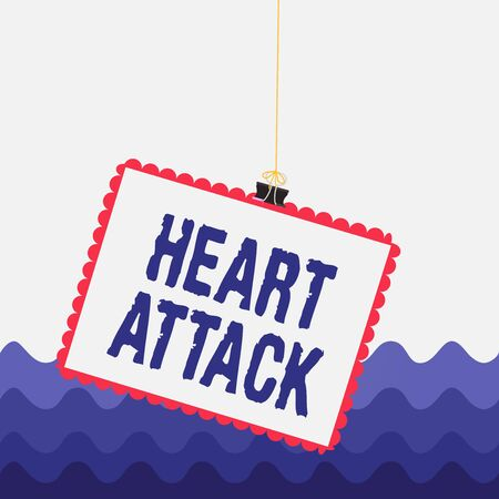Conceptual hand writing showing Heart Attack. Concept meaning sudden occurrence of coronary thrombosis resulting in death Stamp stuck binder clip square color frame rounded tip