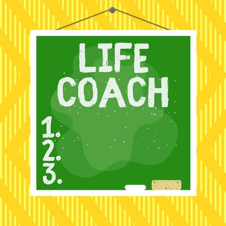 Word writing text Life Coach. Business photo showcasing someone who helps identify your goals and plan to achieve them Asymmetrical uneven shaped format pattern object outline multicolour design