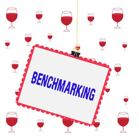 Text sign showing Benchmarking. Business photo showcasing evaluate something by comparison with standard or scores Stamp stuck binder clip paper clips square color frame rounded tip sticker